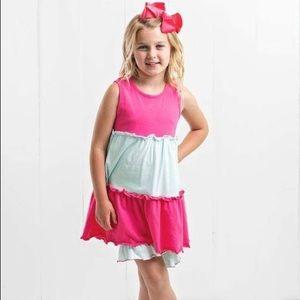 Ruffle Girl Matching Sets - Ruffle Girl Pink & Mint Ruffle Tunic Short Set